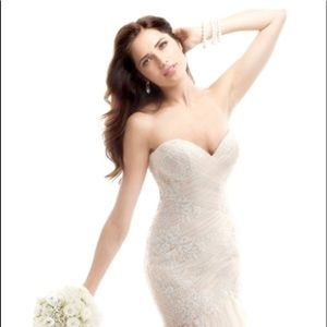 Lace blush corset wedding dress fit trumpet white